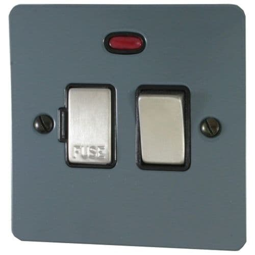 G&H FDG327 Flat Plate Dark Grey 1 Gang Fused Spur 13A Switched & Neon